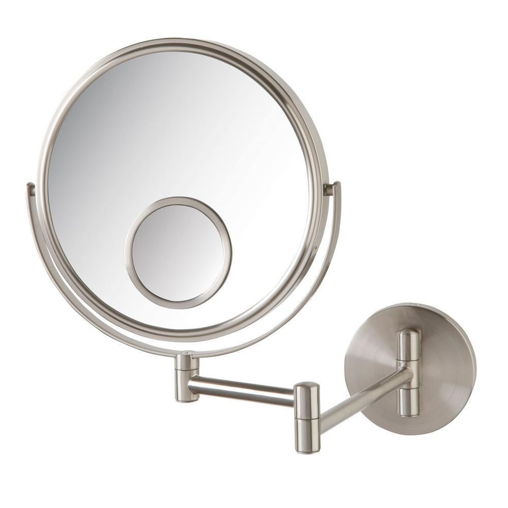 Jerdon 11 in. x 12 in. Wall Makeup Mirror in Nickel