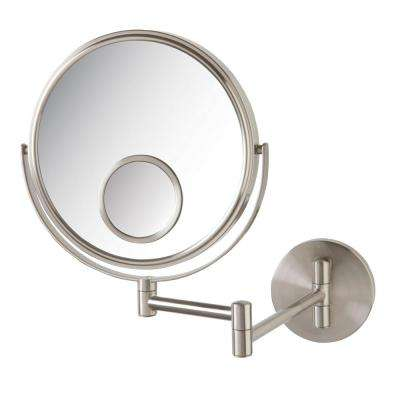 11 in. x 12 in. Wall Makeup Mirror in Nickel