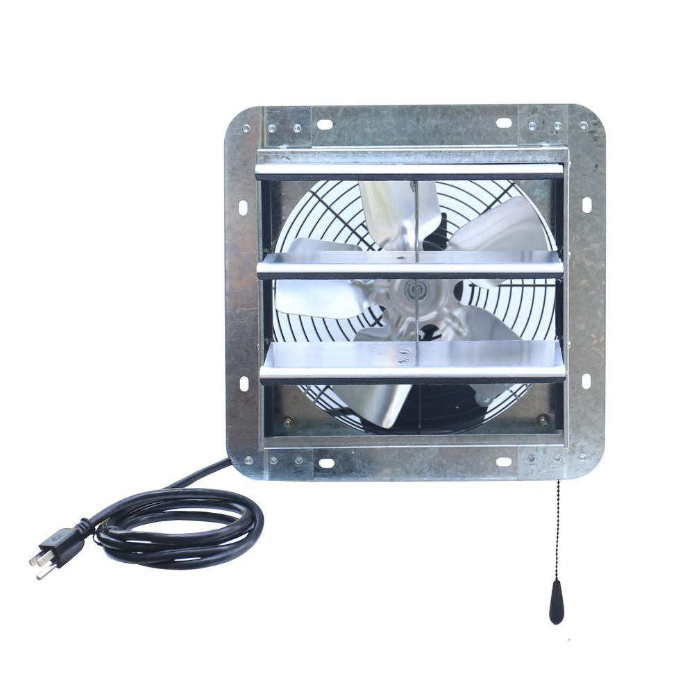 iLIVING 600 CFM 10 in. Power Exhaust Shutter Attic Garage Grow Fan with 3 Speed Thermostat, 6 ft. L 3 Plugs Cord