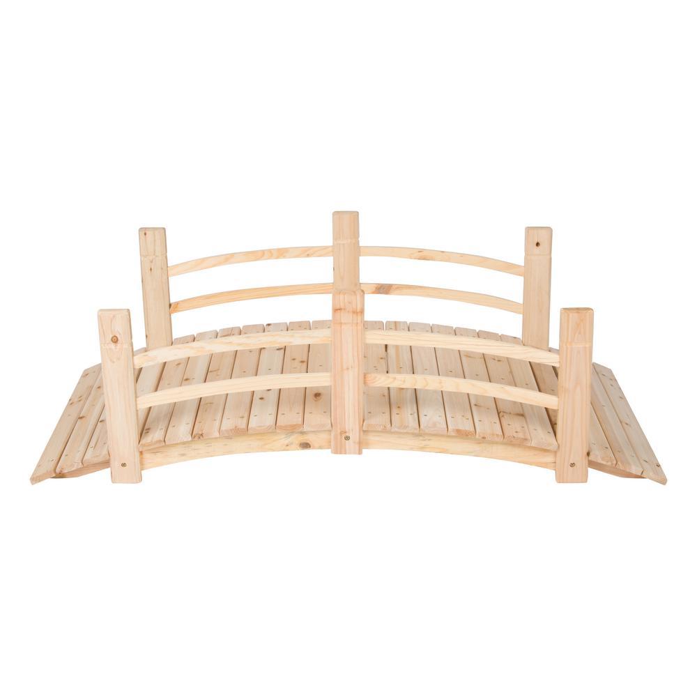5 ft. Natural Cedar Wood Garden Bridge
