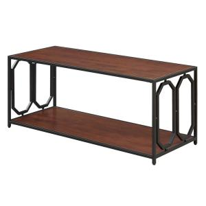 Omega 42 in. Cherry/Black Large Rectangle Wood Coffee Table with Shelf