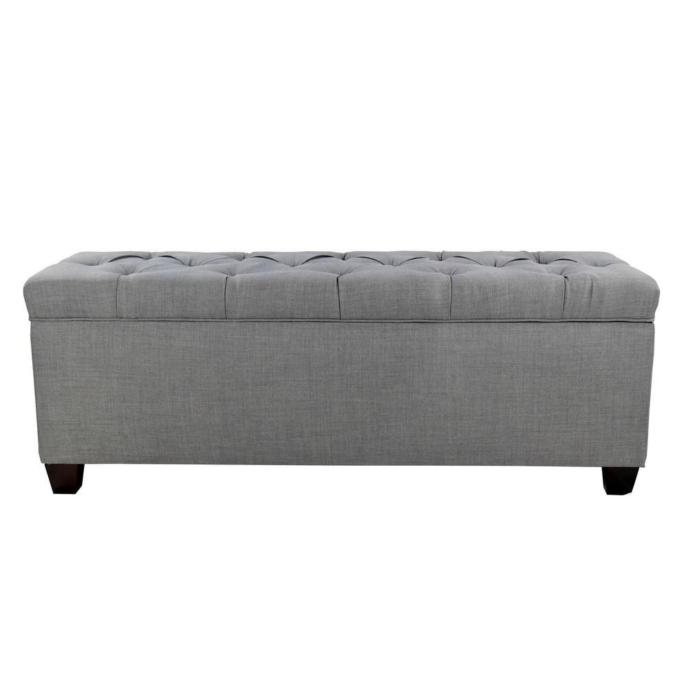 Sean HJM100-3 Grey Diamond Tufted Large Storage Bench