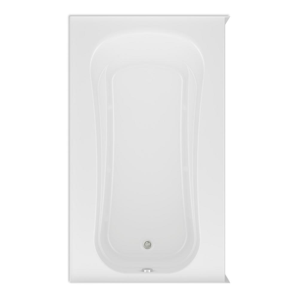 Cariani 72 in. Acrylic Left Drain Rectangular Alcove Soaking Bathtub in White