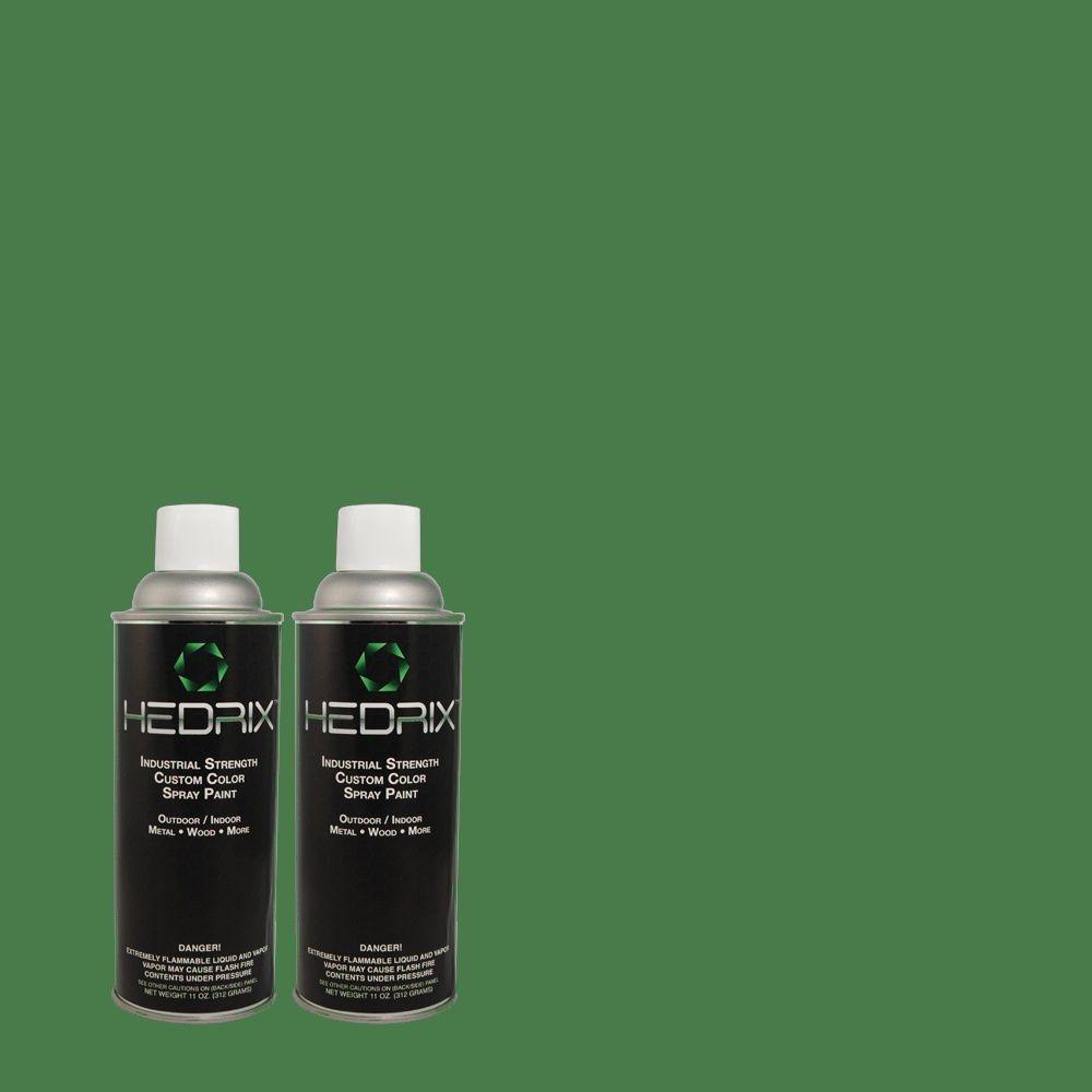 Hedrix 11 oz. Match of 5C4-3 Green Court Flat Custom Spray Paint (2-Pack)