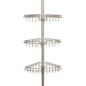 Kenney Satin Nickel 3-Tier Tension Pole Shower Caddy with Stainless Steel Baskets by Kenney