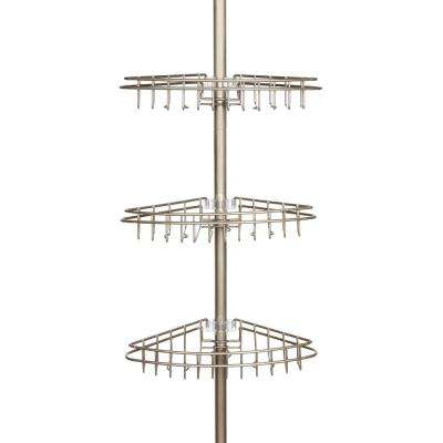 Satin Nickel 3-Tier Tension Pole Shower Caddy with Stainless Steel Baskets