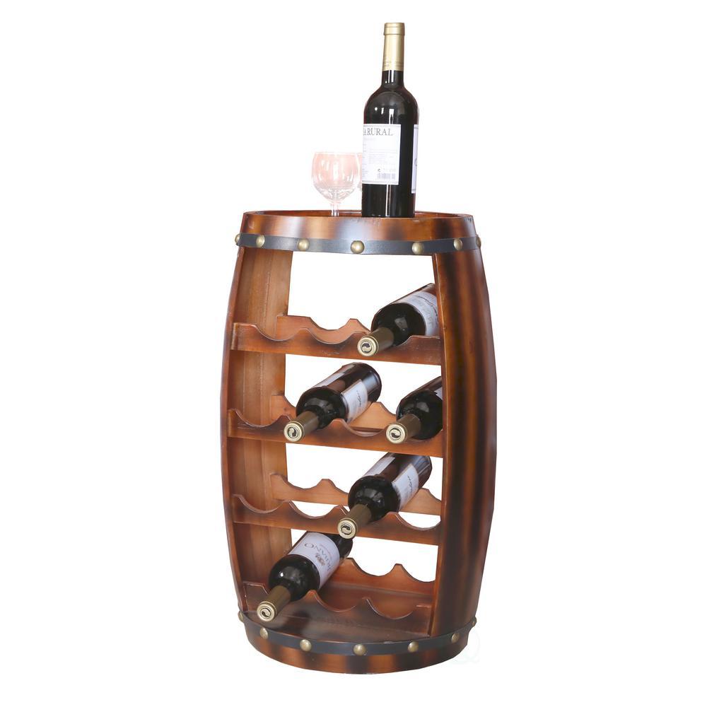 Wooden Barrel Shaped 14-Bottle Wine Rack