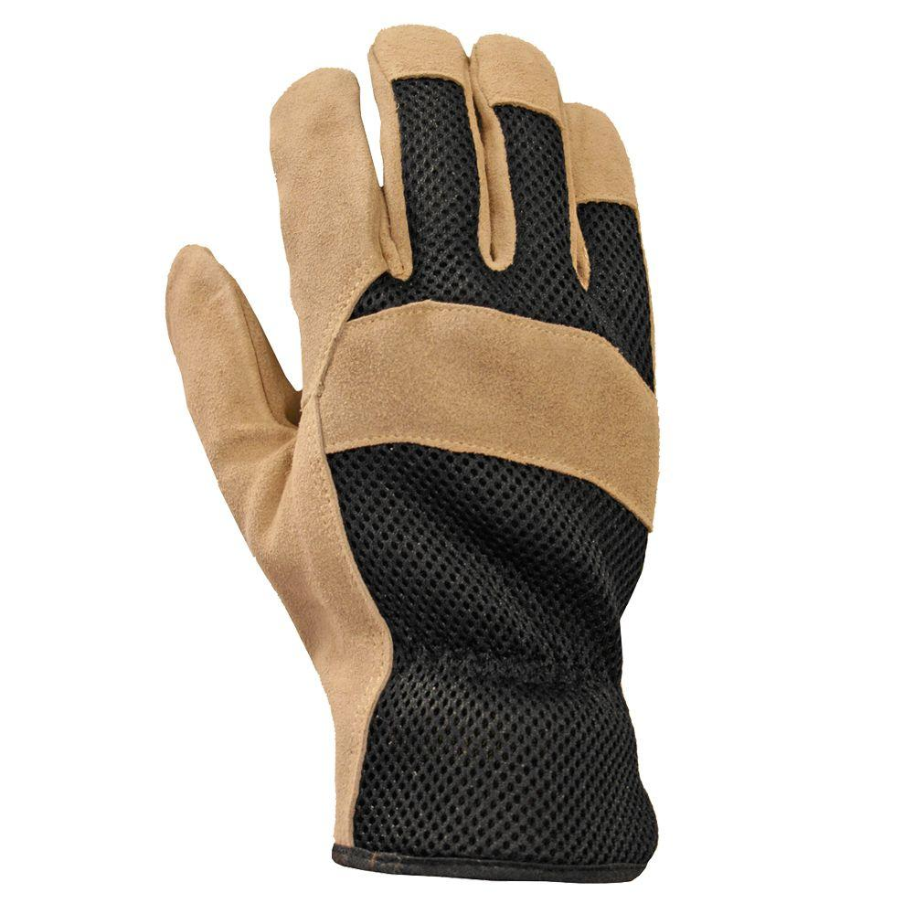 Firm Grip Suede Cowhide and Mesh Large Gloves