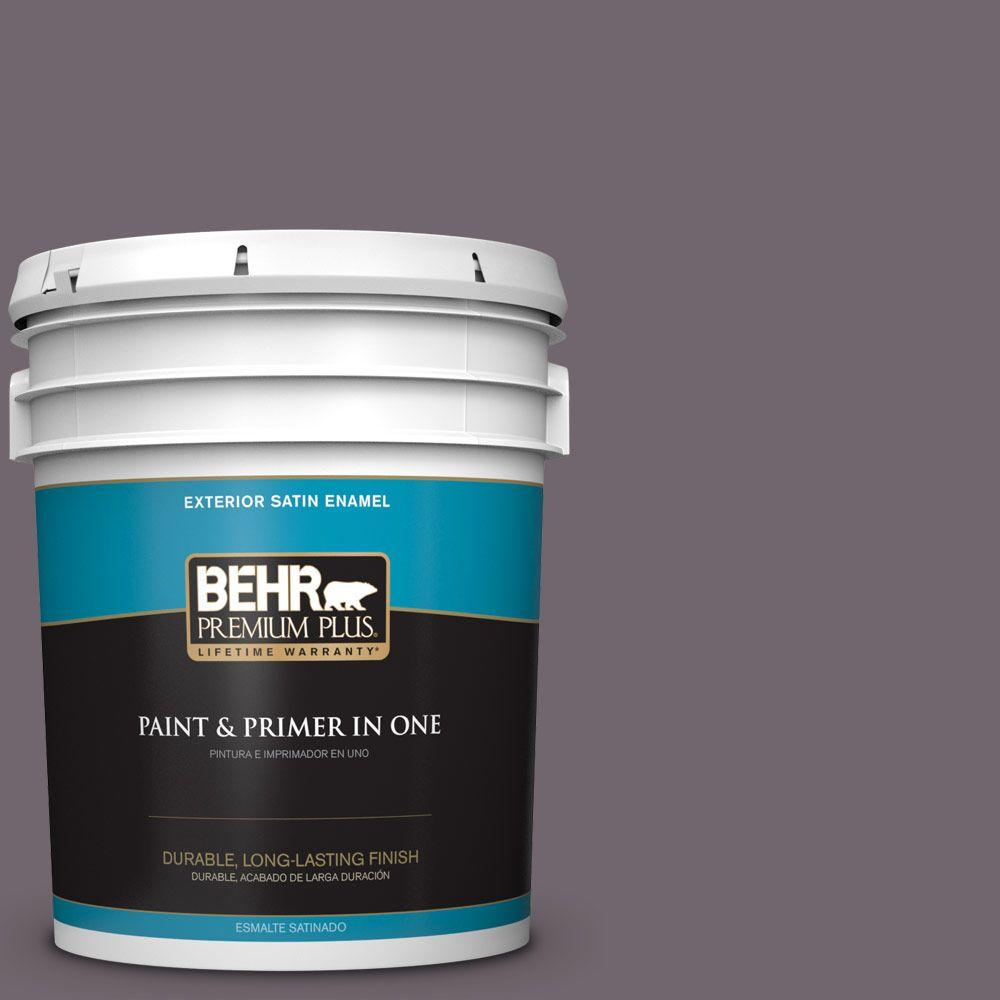 BEHR Premium Plus 5-gal. #N570-5 Curtain Call Satin Enamel Exterior Paint