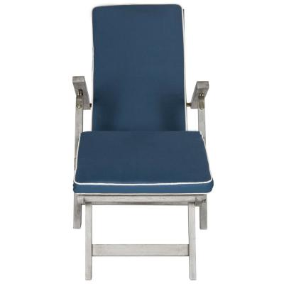 Palmdale Grey Folding Wood Outdoor Lounge Chair with Navy Cushion