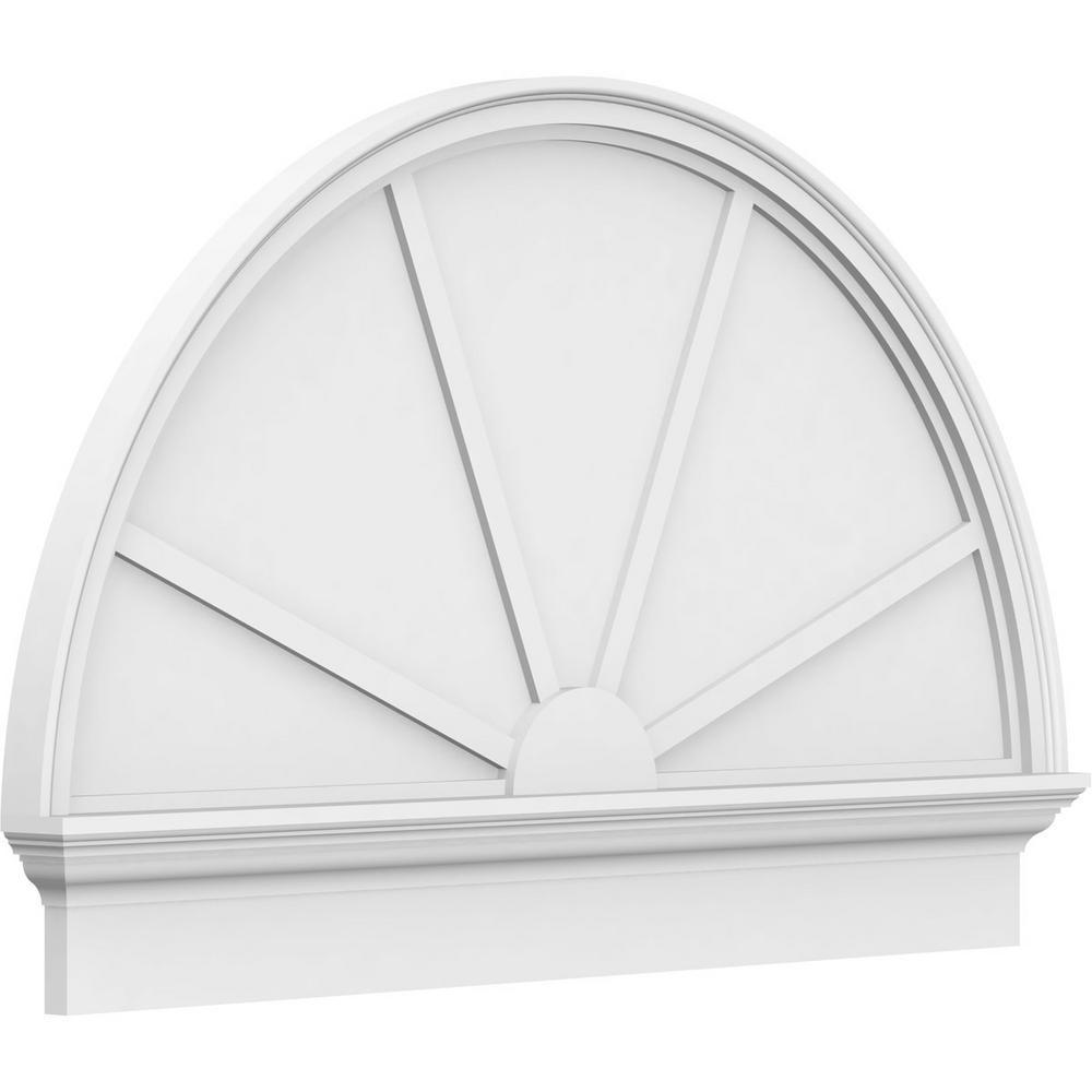 2-3/4 in. x 86 in. x 49-3/4 in. Half Round 4-Spoke Architectural Grade PVC Combination Pediment Moulding