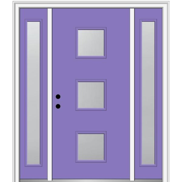 Mmi Door 68 5 In X 81 75 In Aveline Right Hand Inswing 3 Lite Frosted Painted Fiberglass Smooth Prehung Front Door W Sidelites Z0347383r The Home Depot