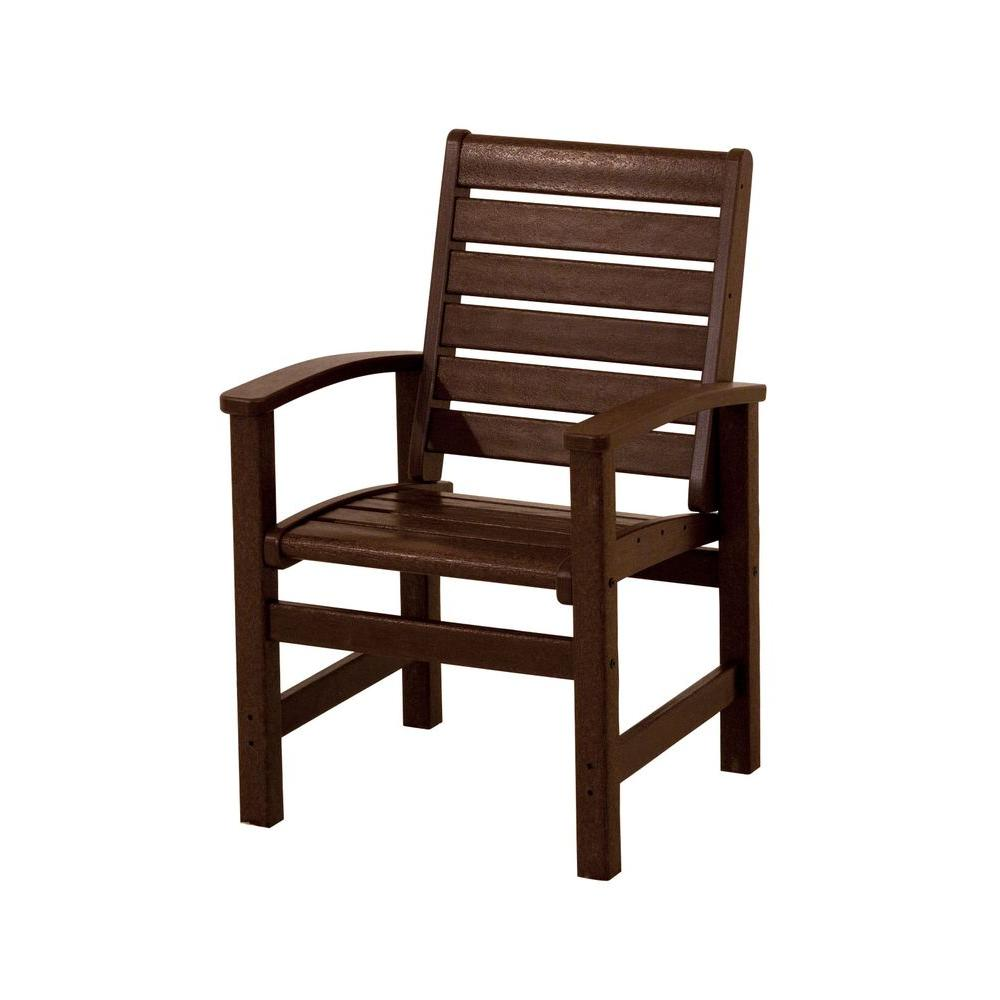 POLYWOOD Signature Mahogany Plastic Outdoor Patio Dining Chair