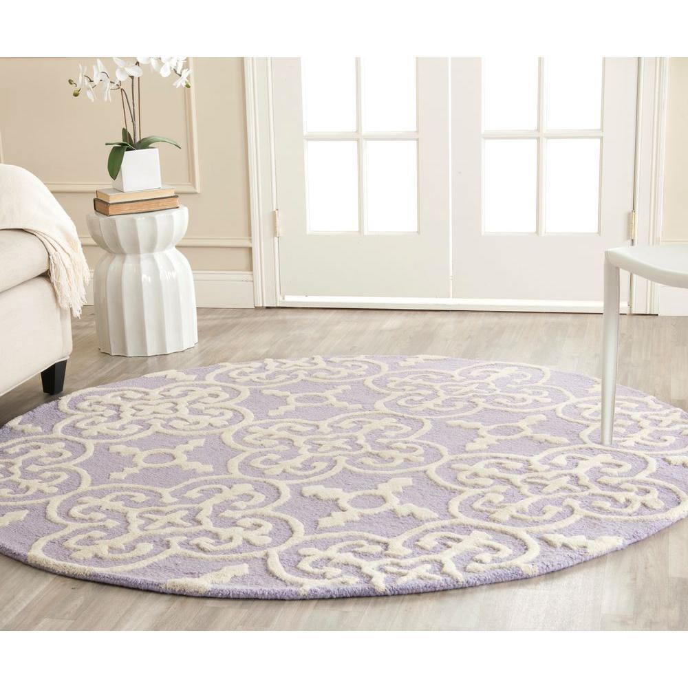 Cambridge Lavender/Ivory 6 ft. x 6 ft. Round Area Rug