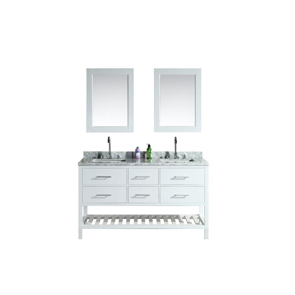 Design Element London 61 in. W x 22 in. D Double Vanity in White with Marble Vanity Top and Mirror in Carrara White