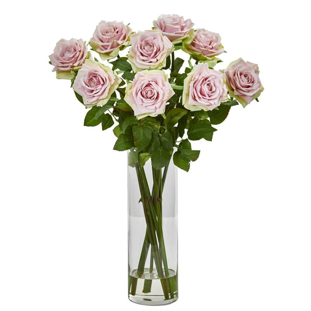 Nearly Natural Indoor Rose Artificial Arrangement in Cylinder Vase