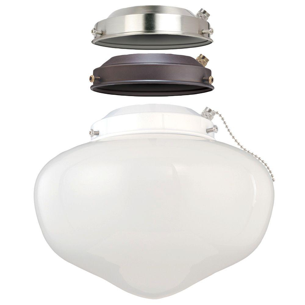 shop for casablanca fluorescent pd kit ceiling with fan frosted light glass white cottage shade