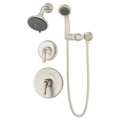 Elm 1-Handle Wall Mounted Shower Trim Kit in Satin Nickel with Hand Shower (Valve Not Included)