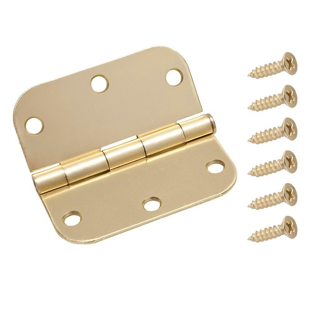 Everbilt 3-1/2 in. x 5/8 in. Satin Brass Radius Door Hinge