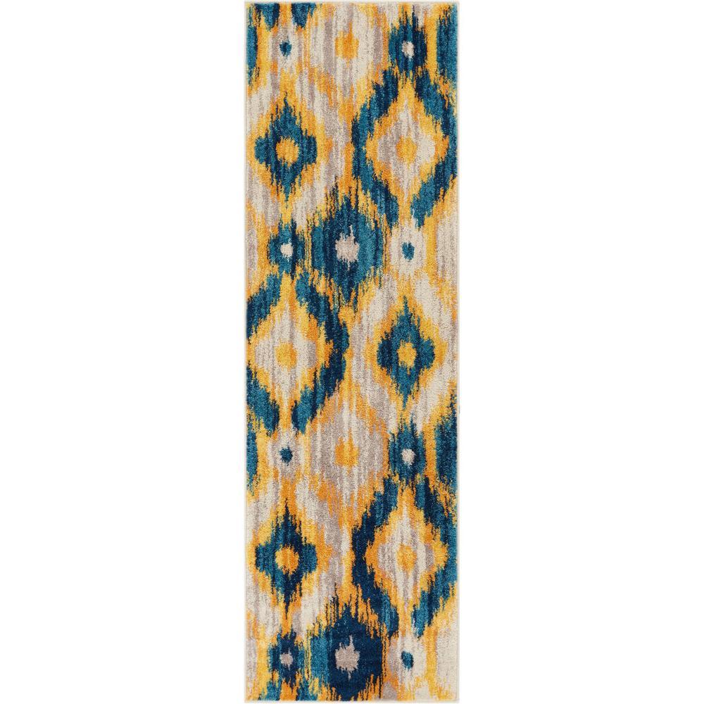 Vettore Rocambolesco Blue 2 ft. 3 in. x 7 ft. 3 in. Modern Ikat Runner Rug