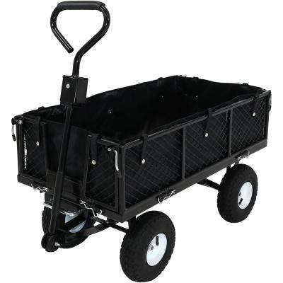 Black Steel Heavy-Duty Dumping Utility Cart with Folding Sides and 600D Poly Liner Set