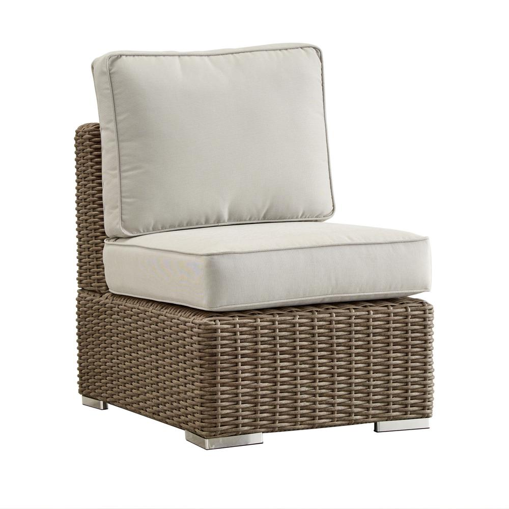 Camari Mocha Wicker Armless Middle Outdoor Sectional Chair with Beige Cushion