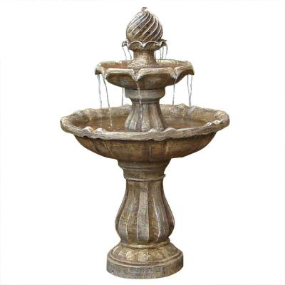 2-Tier Earth Solar Outdoor Tiered Water Fountain with Battery Backup