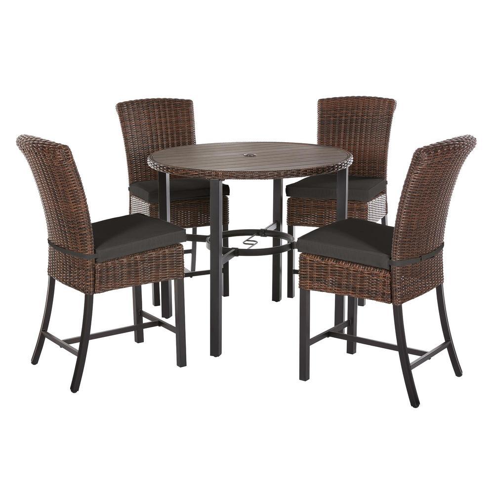 Harper Creek 5-Piece Brown Steel Outdoor Patio Bar Height Dining Set with CushionGuard Graphite Dark Gray Cushions