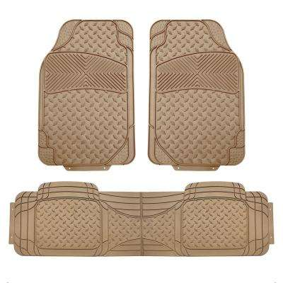 Beige Heavy Duty 3-Piece 29 in. x 18 in. Vinyl Trim to Fit Car Floor Mats