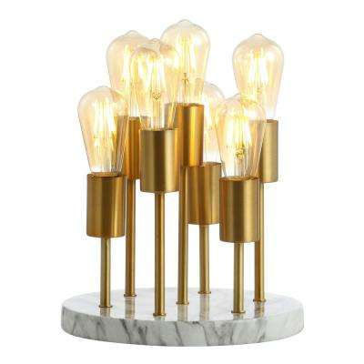 Pleiades 13.5 in. Brass Gold/White Modern Metal/Resin LED Accent Lamp
