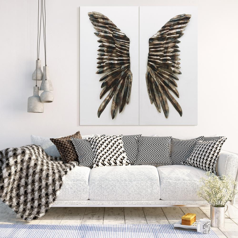 48 In X 24 The Wings Primo Mixed Media Iron Wall Sculpture On Canvas Diptych Set Of 2 Apmo 160948 4824 Home Depot