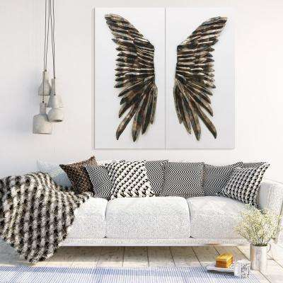 "48 in. x 24 in. ""The Wings"" Primo Mixed Media Iron Wall Sculpture on Canvas Diptych (Set of 2)"