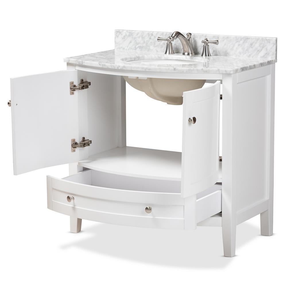 36 in. W x 34.7 in. H Bath Vanity in White w/ High Gloss White Basin w/ Vanity Top in White w/ High Gloss White Basin