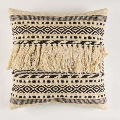 Handwoven Ivory and Black Fringed Pillow