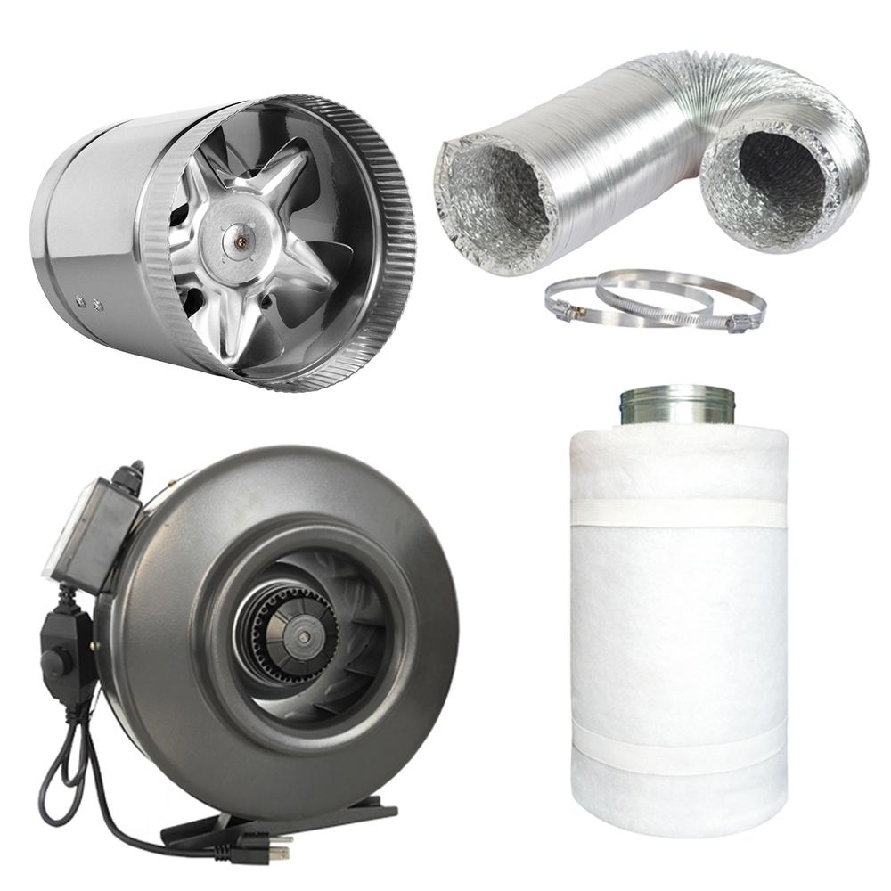 677 CFM 8 in. Centrifugal Inline Duct Fan with 8 in. Boos...