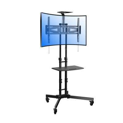 Curved TV Cart for LCD LED Plasma Flat Panels Stand with Wheels Mobile Fits 32 in. - 65 in. TV Removable Top Shelf
