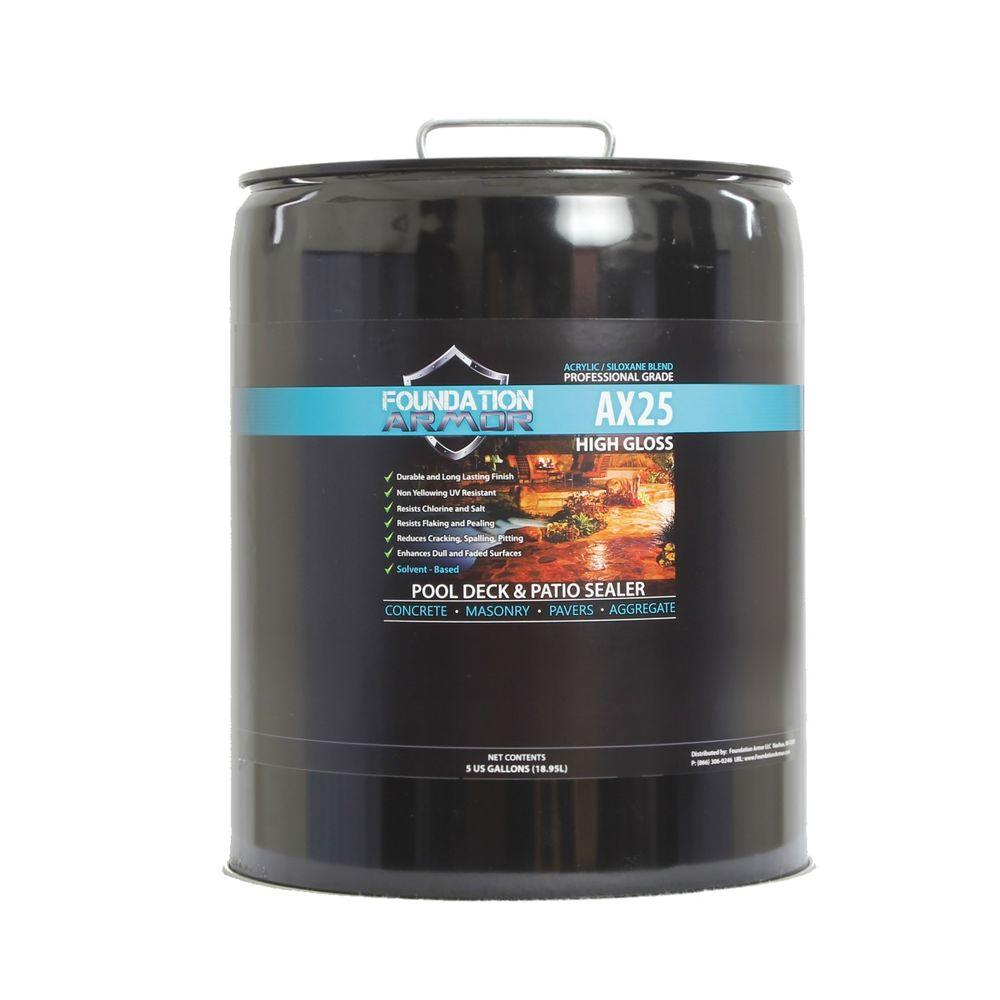 Foundation Armor 5 gal. Siloxane Infused Solvent Based High Gloss Acrylic Concrete Sealer, Paver Sealer and Pool Deck Sealer