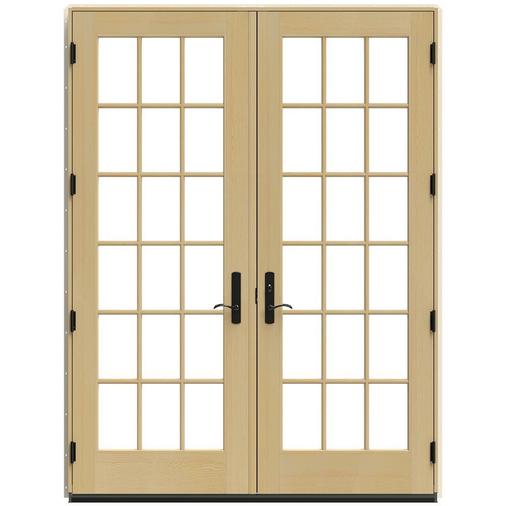 71.25 in. x 95.5 in. W-4500 Black Left Hand Inswing French Wood Patio Door
