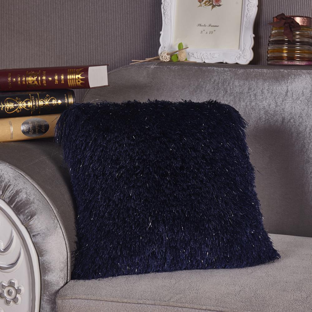 Blue Shaggy Lurex Standard Decorative Pillow