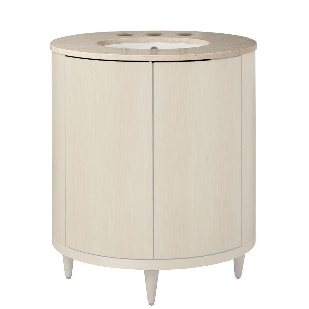 Porcher Ovale 26-1/28 in. Vanity Cabinet Only in White Wood-DISCONTINUED