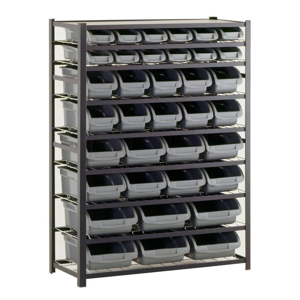 Sandusky 57 in. H x 44 in. W x 16 in. D Steel Commercial Bin Shelving Unit in Gray