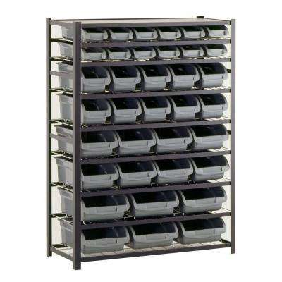 57 in. H x 44 in. W x 16 in. D Steel Commercial Bin Shelving Unit in Gray