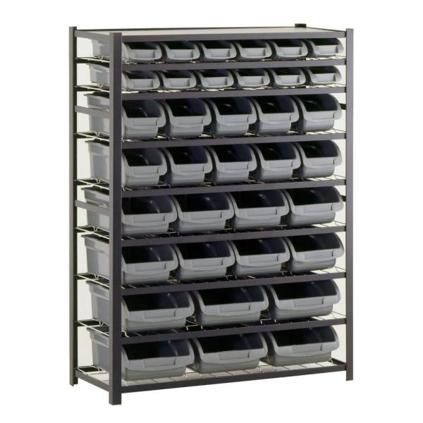 Sandusky 57 in. H x 44 in. W x 16 in. D Steel Commercial Bin Shelving Unit in Gray