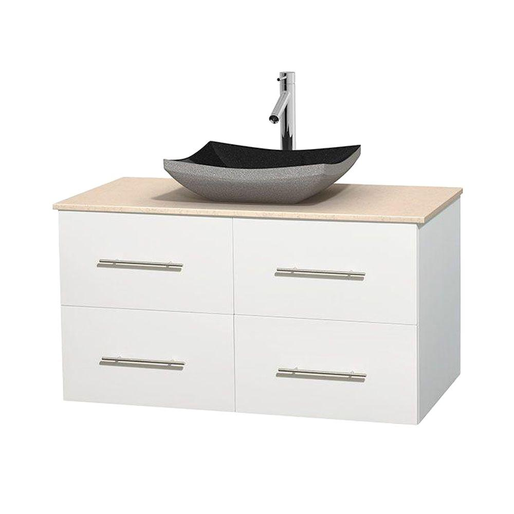 Wyndham Collection Centra 42 in. Vanity in White with Marble Vanity Top in Ivory and Black Granite Sink
