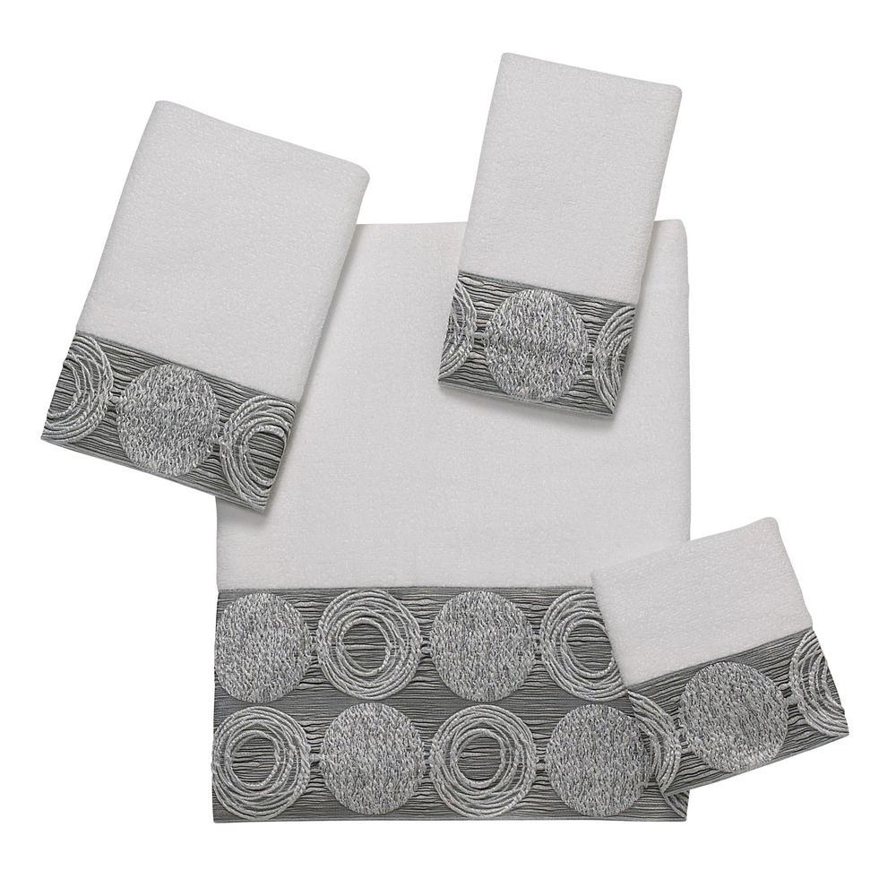 Galaxy 4-Piece White Geometric Bath Towel Set