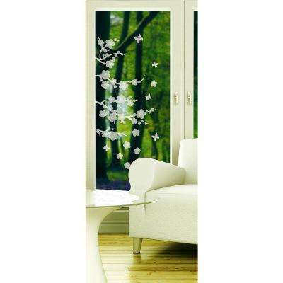 78.74 in. x 17.7 in. Blossom Etched Glass Windows Film