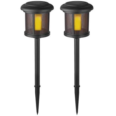 Solar Black LED Flicker Flame Path Light (2-Pack)