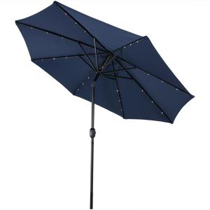 9 ft. Aluminum Market Solar Tilt Patio Umbrella in Navy Blue