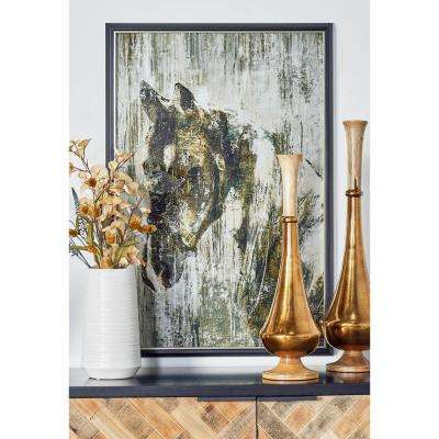 "37 in. x 25 in. ""Horse"" Hand Painted Framed Canvas Wall Art"