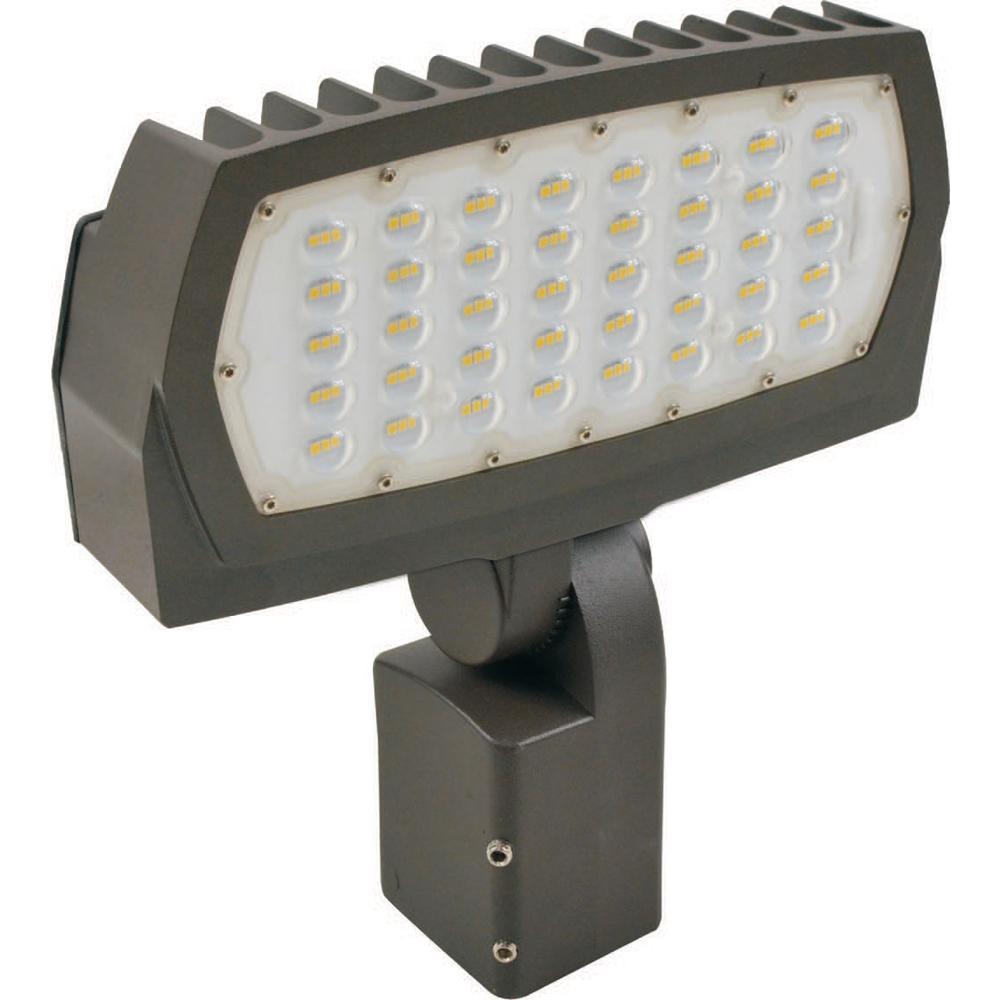 High Lumen 75-Watt Bronze Outdoor Integrated LED Landscape Flood Light 120-Volt to 277-Volt Knuckle Mount Cool White